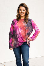 Load image into Gallery viewer, Taryn Tie-Dye Top - Berry/Navy Mix