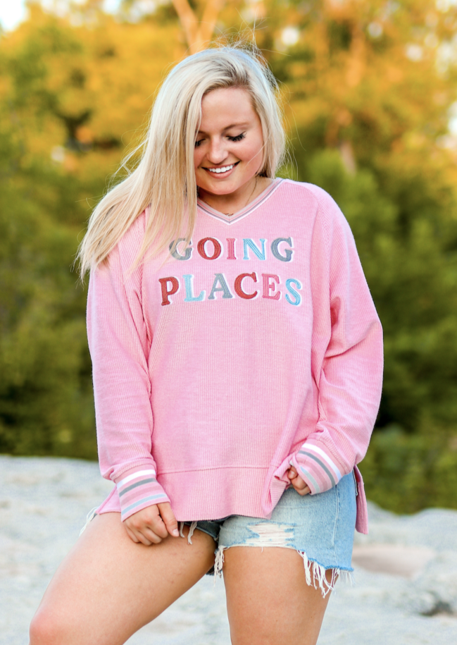 JadelynnBrooke: Going Places (Millennial Pink) - Corded Sweatshirt