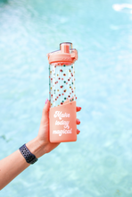 Load image into Gallery viewer, 3 Happy Hooligans: Glass Water Bottle -20oz (Coral) - Magical