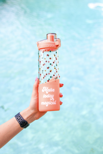 3 Happy Hooligans: Glass Water Bottle -20oz (Coral) - Magical