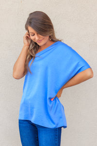 RESTOCK: Addison One-Shoulder Top - Chambray Blue