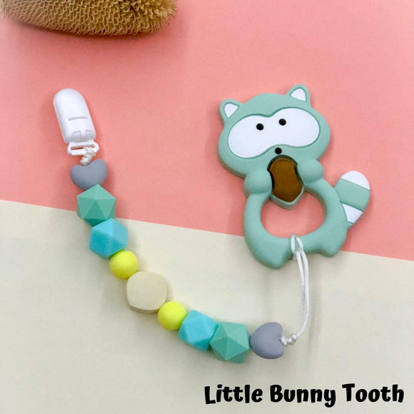 Pacifier Clip Set - Mint Raccoon (MR001)