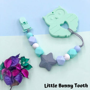 Pacifier Clip Set - Mint Owl with big star (MO001)
