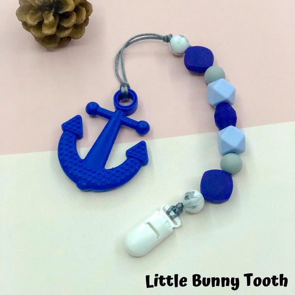 Pacifier Clip Set - Royal Blue Anchor (RBA001)