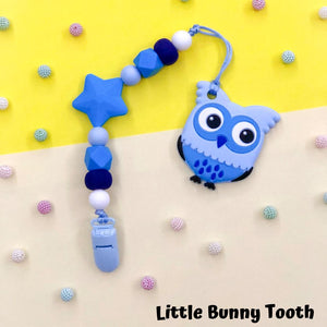 Pacifier Clip Set - Blue Owl with big star (BW001)
