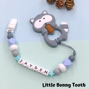 Pacifier Clip Set - Dark Grey Raccoon (DGR001)
