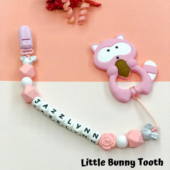 Pacifier Clip Set - Pink Raccoon (PR004)