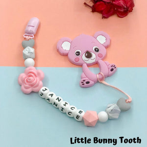 Pacifier Clip Set - Pink Koala with big flower (PK003)