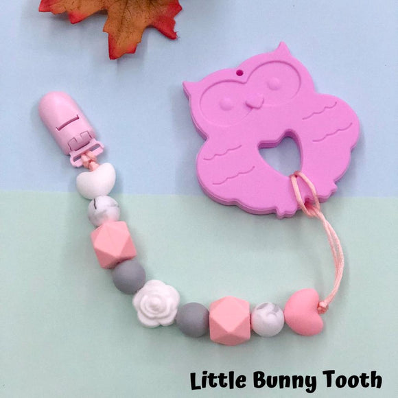 Pacifier Clip Set - Large Pink Owl (LPO001)