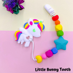 Pacifier Clip Set - Bright Unicorn with big star (BU001)