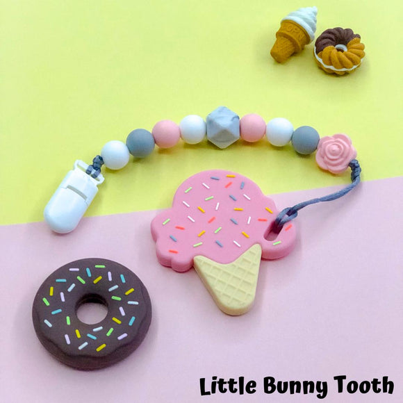 Pacifier Clip Set - Pink Ice Cream (PIC001)