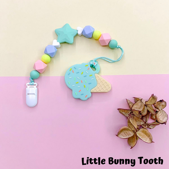 Pacifier Clip Set - Mint Ice cream with big star (MIC002)