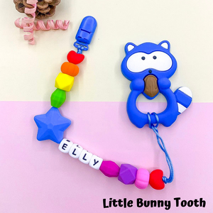 Pacifier Clip Set - Sky Blue Raccoon with big star (SBR001)