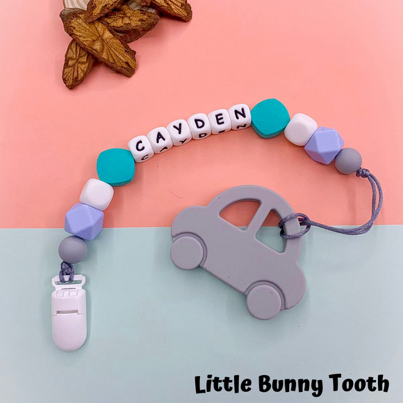 Pacifier Clip Set - Grey Car (GC001)