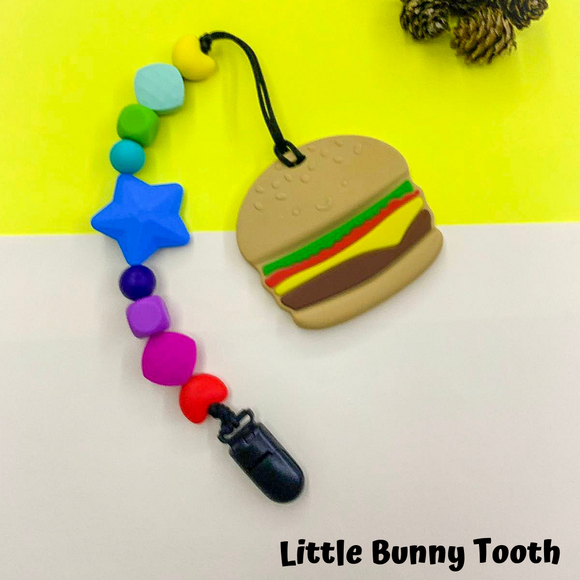 Pacifier Clip Set - Hamburger with big star (HAM001)