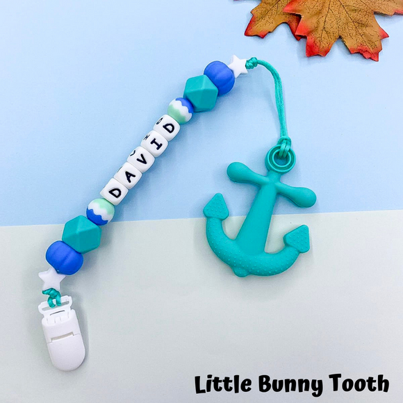 Pacifier Clip Set - Turquoise Anchor (TA001)