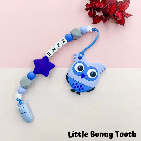 Pacifier Clip Set - Blue Owl with big star (BO002)