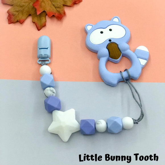 Pacifier Clip Set - Light Blue Raccoon (LBR001)