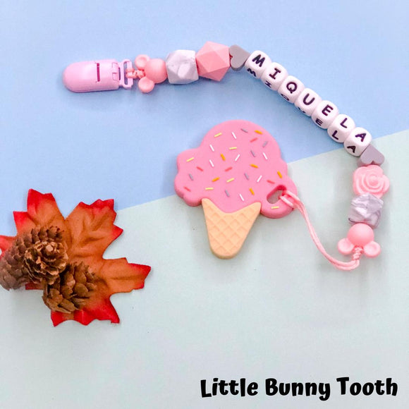 Teether Pacifier Clip Set - Pink Ice Cream (PIC002)