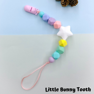 Pacifier Clip Set - Pink Hedgehog with big star (PH001)
