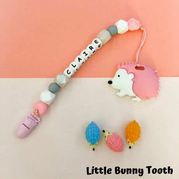 Pacifier Clip Set - Pink Hedgehog (PH002)