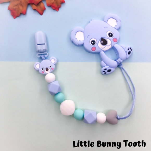 Pacifier Clip Set - Light Blue Koala (LBK003)