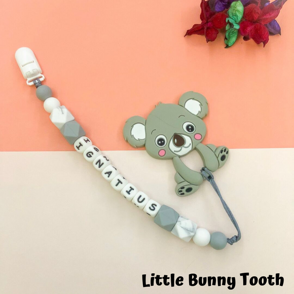 Pacifier Clip Set - Light Grey Koala (LGK001)