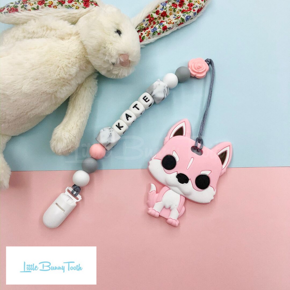 Pacifier Clip Set - Pink Husky (PHD003)