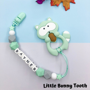 Pacifier Clip Set - Mint Raccoon (MR003)