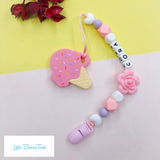 Pacifier Clip Set - Pink Ice Cream with big flower (PIC005)