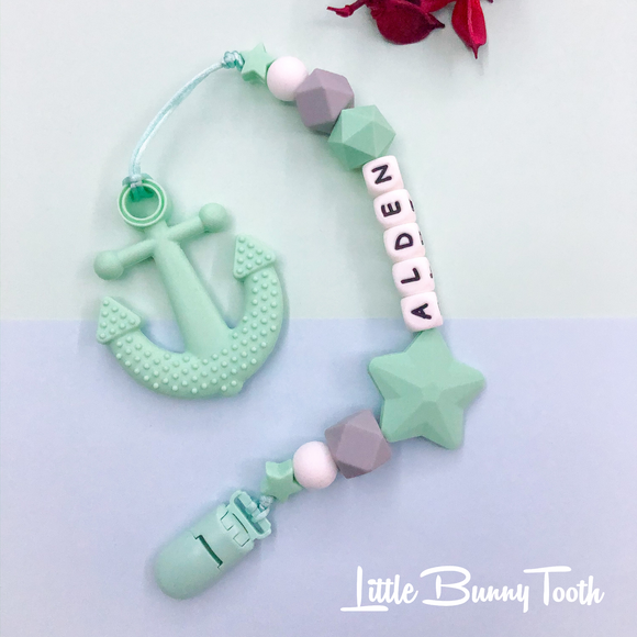 Pacifier Clip Set - Mint Anchor with Big Star (MA0001)