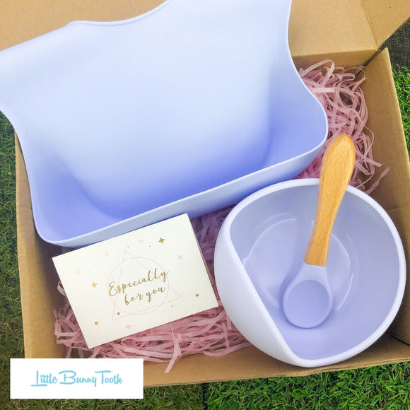 Silicone Bib + Bowl + Spoon (Blue) - Gift Set