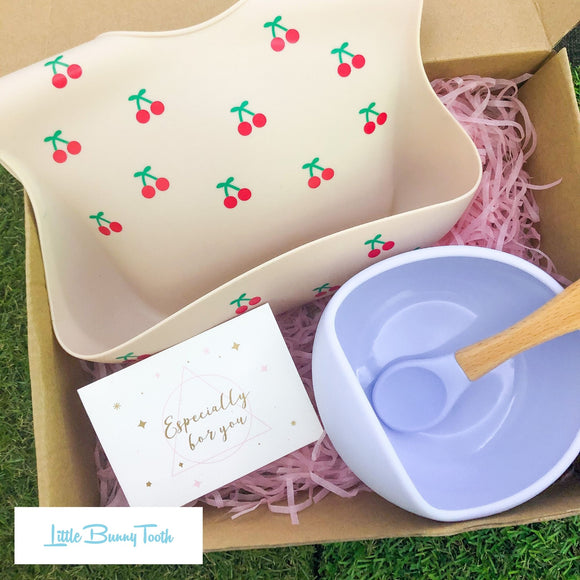 Cherry Silicone Bib + Bowl + Spoon (Blue) - Gift Set