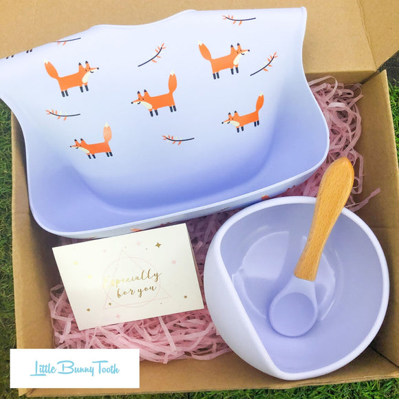 Fox Silicone Bib + Bowl + Spoon (Blue) - Gift Set