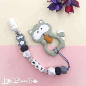 Pacifier Clip Set - Light Grey Raccoon (LGR001)