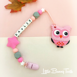 Pacifier Clip Set - Pink Owl with big star (PO002)