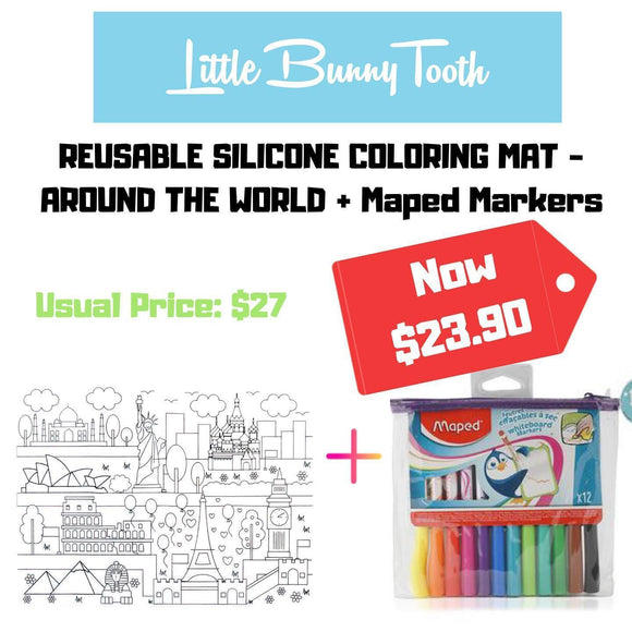 Reusable Silicone Coloring Mat + Maped Markers