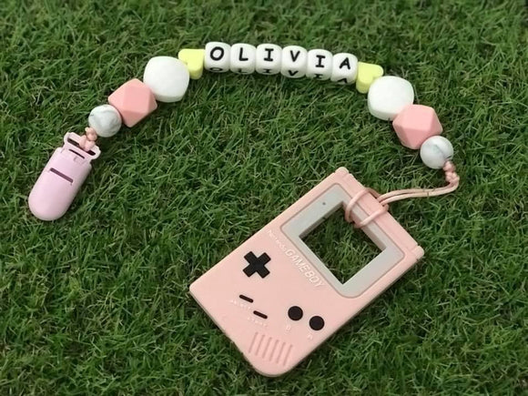 Pacifier Clip Set - Pink Gameboy (PG001)