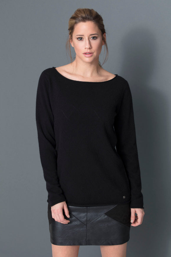 DAMIER V Neck Sweater 100% Cashmere