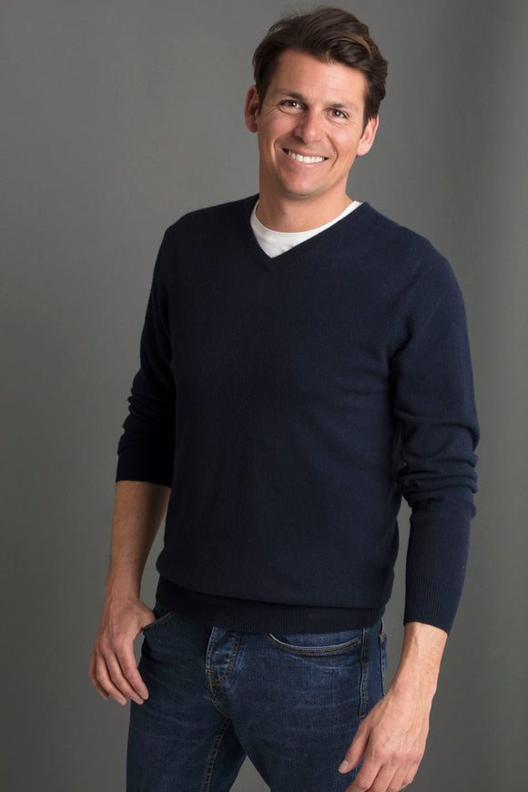 DANIEL MEN SWEATER V NECK 100% CASHMERE