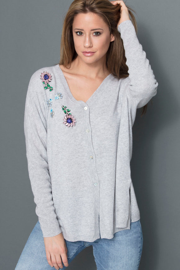 DORA WOMEN CARDIGAN OVERSIZE FANCY STONE