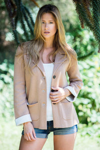 ECOSSE Women Blazer Jacket Bi Color camel