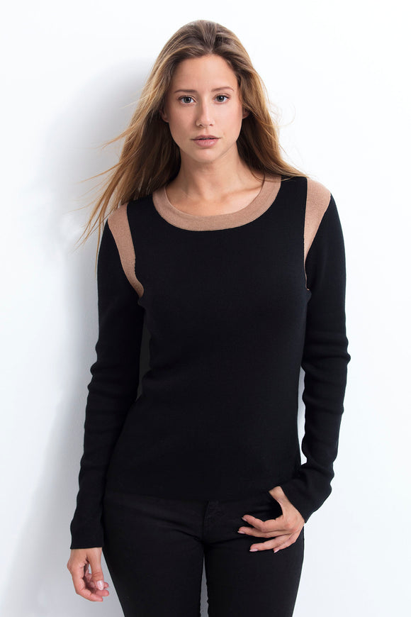 EDITH WOMEN SWEATER black-camel