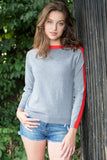 ELMER 2 Women sweater with Contrast Color Cotton/Cashmere Grey chiné VSM / vermillon