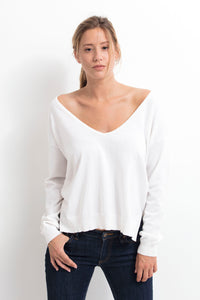ESCALE Women Deep V neck Cotton Cashmere