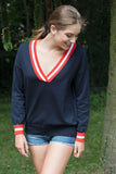 ESPAGNE Women V Neck Sweater Cotton/ Cashmere Dark navy / Vermillon