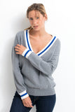 ESPAGNE Women V Neck Sweater Cotton/Cashmere Grey chiné VSM / Klein