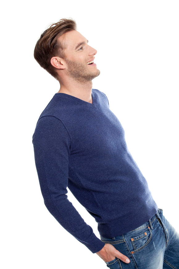 PADDY Men sweater V collar 100% CASHMERE