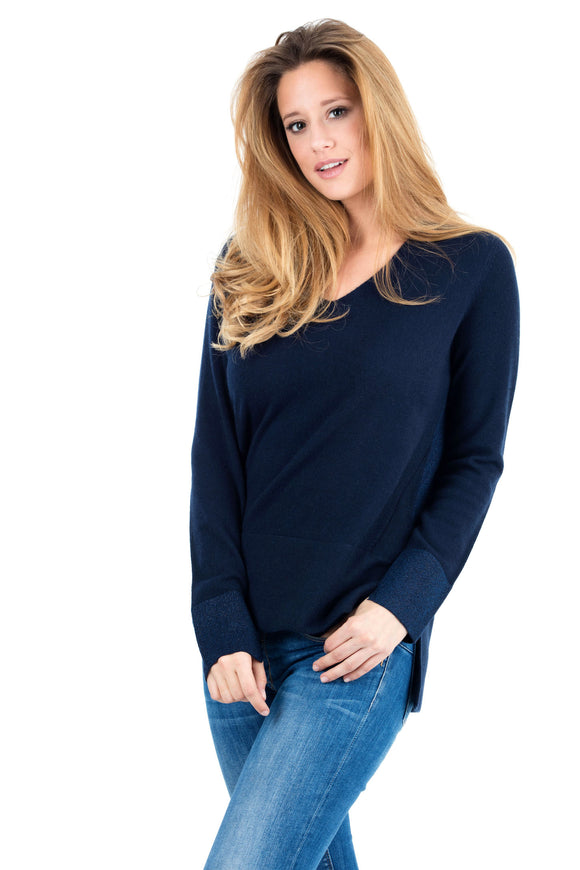 PAGNY- WOMEN SWEATER LUREX 100% CASHMERE
