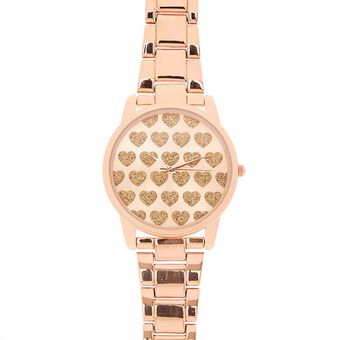Rose Gold Tone Watch with Glitter Hearts